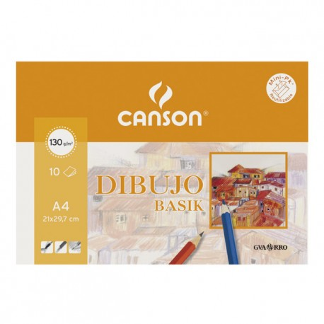 Minipack Dibujo Basik Canson 10 hojas A-4 130 gr.
