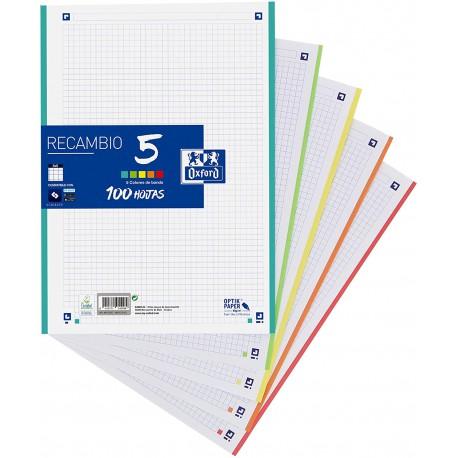 Recambio Oxford A4.  Cuadrícula 5x5. Banda 5 colores. 100 Hojas.