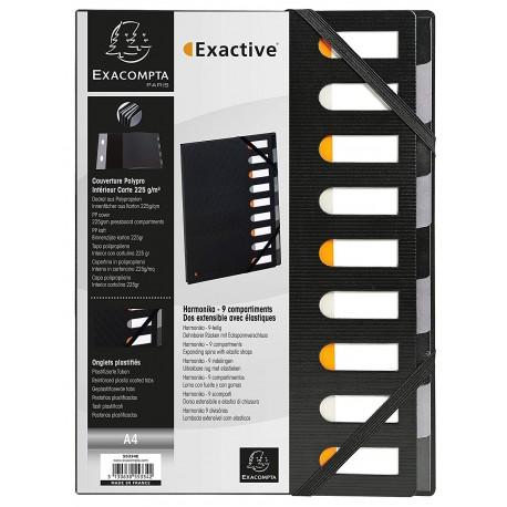 Clasificador tapa dura Harmonika Exactive lomo extensible 9 compartimentos negro
