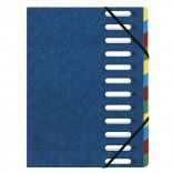 Clasificador harmonika con ventanas con gomas, 12 compartimentos, azul
